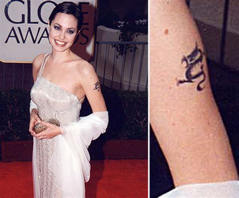 angelina jolie tattoo removed photos of who tattoos popsugar