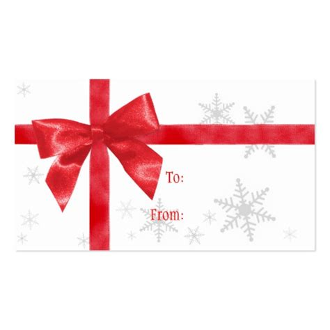 red bow christmas gift tag double sided standard business