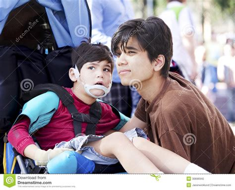 brother sister shota big brother taking care of disabled little boy in