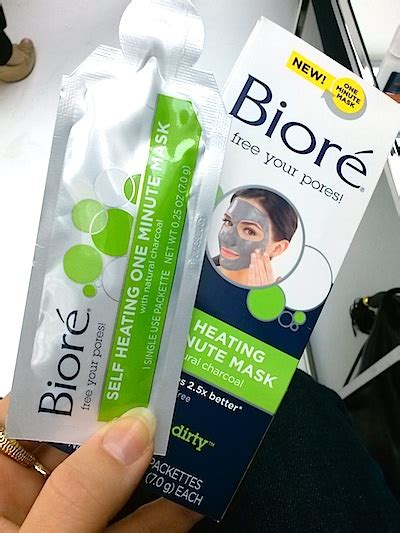 Biore Charcoal Mask Self Heating One Minute Mask review ingredients swatches bior 233 skincare pore