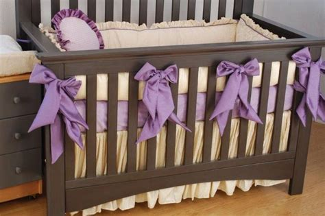 Crib Bedding Bows by Purple Faux Silk Bumper Bows On Ivory Crib Bedding With