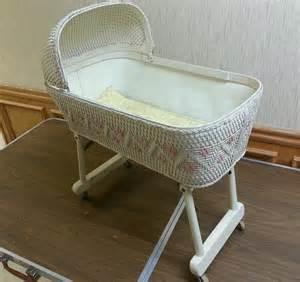 vintage wicker baby doll bed crib rolling bassinet folding