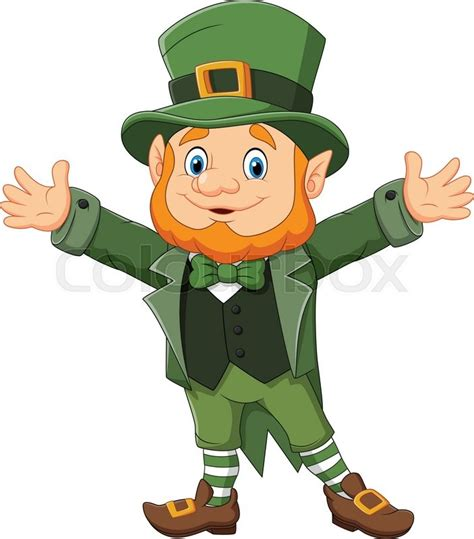 leprechaun clip vector illustration of leprechaun waving