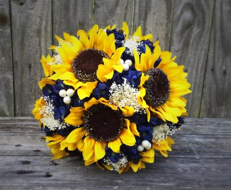 Wedding Bouquets Using Sunflowers by Sunflower Bouquet Navy Sunflower Bouquet Bridal Bouquet