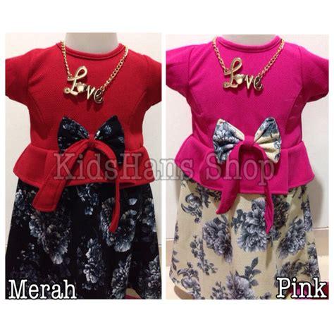 Baju Rok Terusan Tangan Panjang Untuk Usia 1 Tahunan jual dress baju rok terusan anak perempuan motif bunga wafer kidshans shop