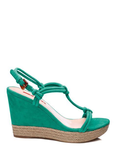 10 Prada Shoes by Prada Wedge Shoes Green In Green Lyst