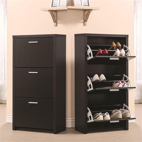 Black Wooden Tall 3 Drawer 12 Pair Shoe Organizer Cabinet