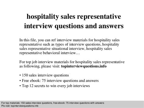 hospitality sales representative questions and