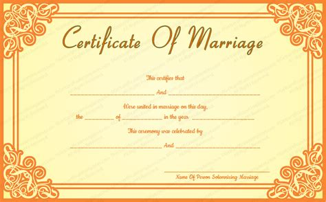 marriage certificate templates free orange frame wedding certificate template
