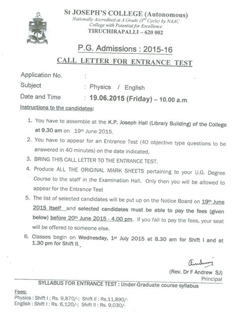Acceptance Letter For Call St Joseph S College Autonomous Tiruchirappalli 620002