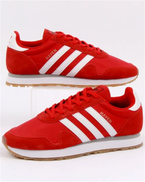 adidas haven adidas haven trainers red white gum originals runner shoes