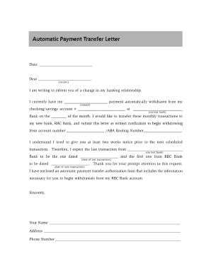 Rbc Automatic Payment Transfer Authorization Form Fill Online Printable Fillable Blank Pre Authorized Payment Form Template Rbc