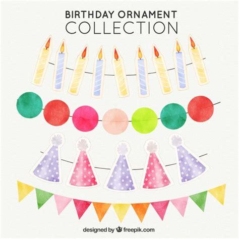 birthday ornaments set of watercolor birthday ornaments vector free
