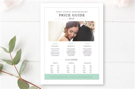 Photography Psd Templates 20 price list template for photography wedding and
