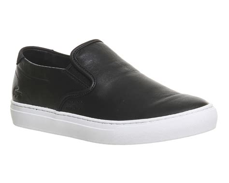 lacoste alliot slip on black leather premium his trainers