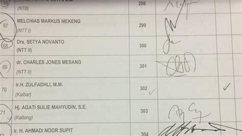beda tanda tangan novanto  absen paripurna  surat