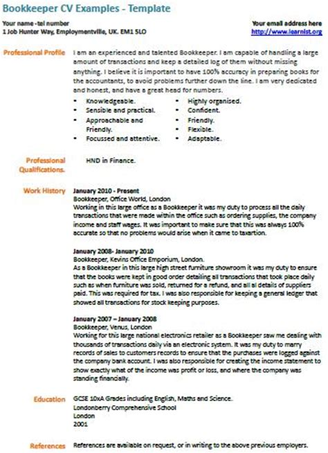 Bookkeeper Achievement Resume Sles Bookkeeper Cv Exle Learnist Org