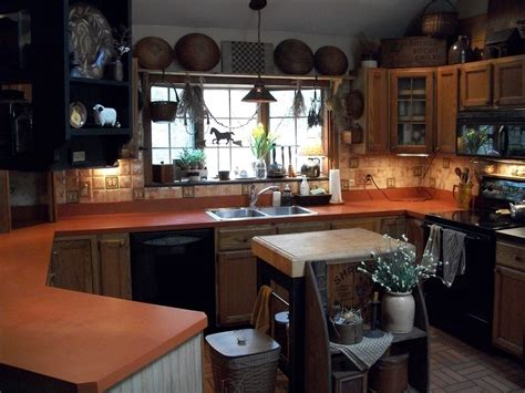 Primitive Kitchen Designs More Black Painted Refrigerator And Formica