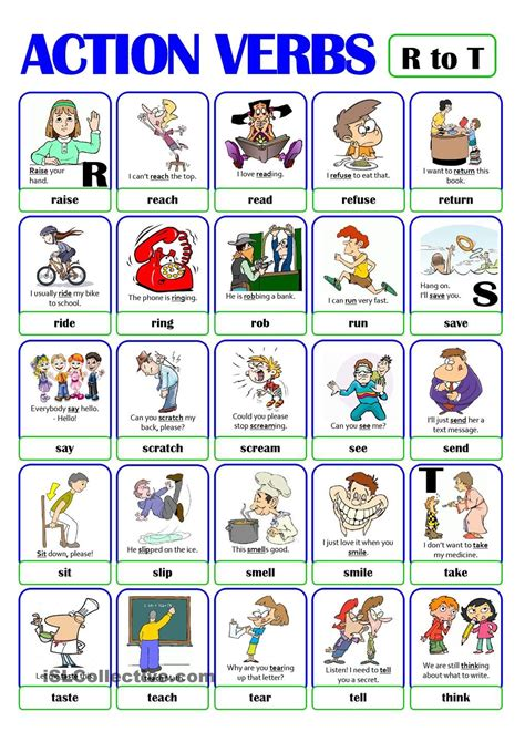 pictionary verb set 4 from r to t esl