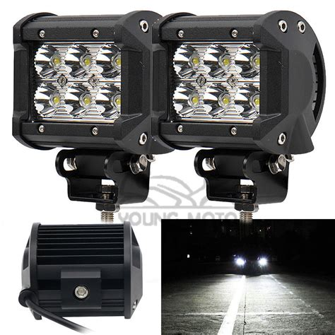 6 inch led light bar 2pcs 4 quot inch 18w 1320 lumen motorcycle 6 led spot beam fog
