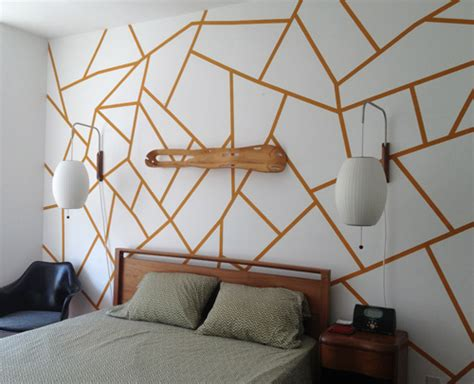geometric pattern diy diy project geometric painted wall design sponge