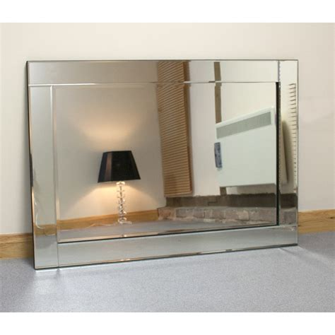 32 x 48 mirror large silver glass framed rectangle bevelled wall