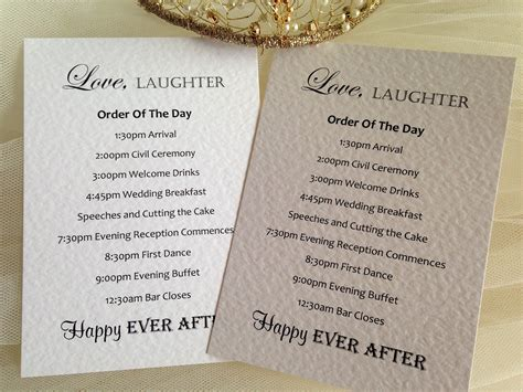 Wedding Order by Laughter Wedding Order Of Day Cards Stationery