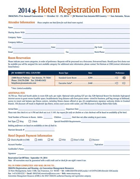 Guest Registration Form Template hotel guest registration form images
