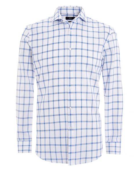 pattern white shirt hugo boss classic mens jason shirt window pane white