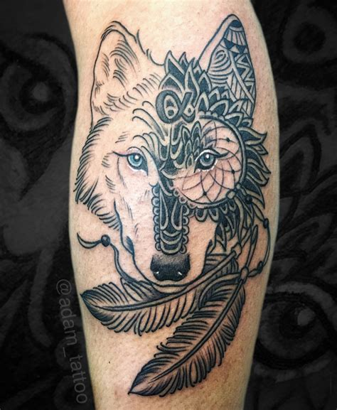 wolf mandala tattoo blackwork wolf mandala catcher tattoos