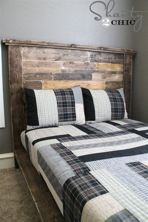 how to make a headboard out of pallets diy planked headboard shanty 2 chic