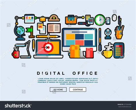 Flat Web Design Template Icons Digital Stock Vector 377204368 Shutterstock Graphic Design Project Management Template