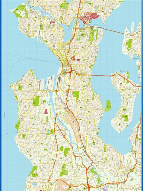 seattle map directions seattle vector map eps illustrator vector city maps usa