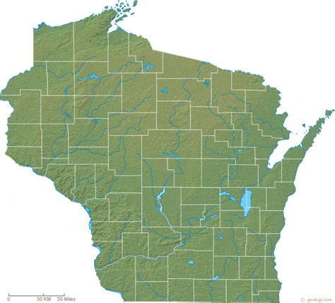 physical map of wisconsin wisconsin physical map and wisconsin topographic map