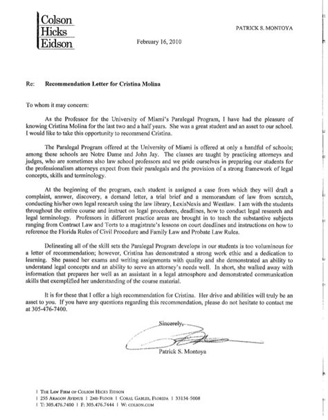 Recommendation Letter By Professor Recommendation Letter From Paralegal Program Professor