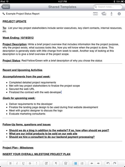 layout project report format new evernote project status report template