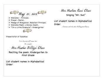 Kindergarten Graduation Program Template By Heather Bridges Tpt Preschool Graduation Program Template 2