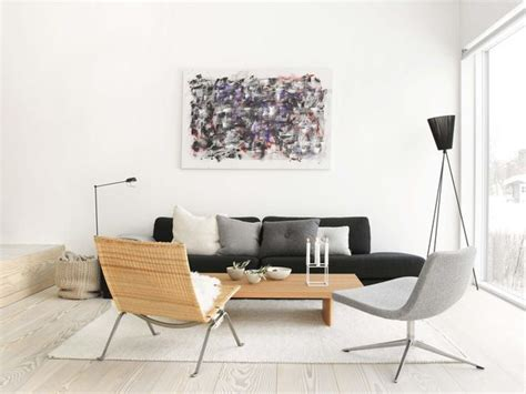 ideas para decorar salon sofa negro sal 243 n blanco negro estilo escandinavo minimalista living