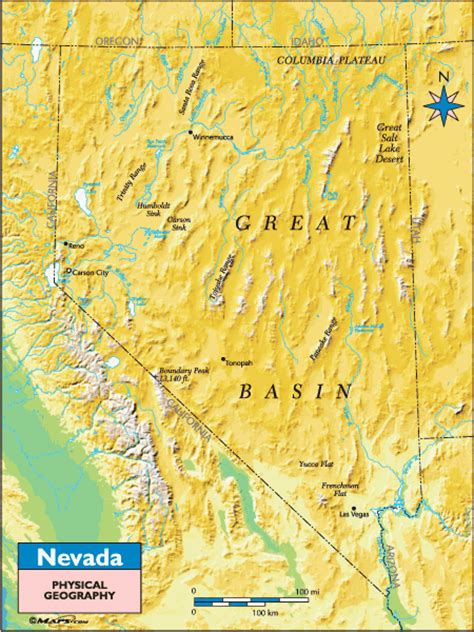 nevada physical geography map  mapscom  mapscom