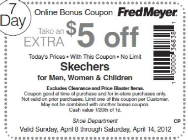 Skechers Coupon by Fred Meyer 5 Skechers Printable Coupon