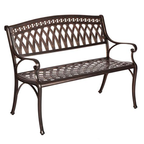 outdoor bench patio sense 2 person antique bronze cast aluminum