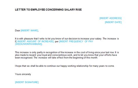 Salary Increase Letter Sle For Employees Salary Increase Letter Template To Employee Letter Idea 2018