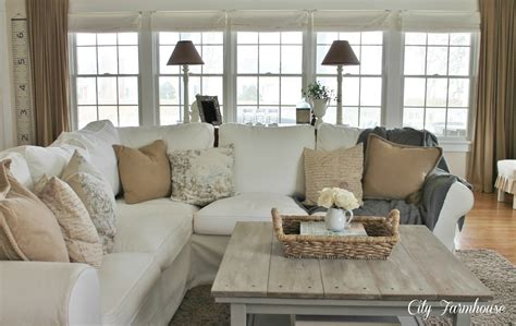 farmhouse family room family room reveal thrifty pretty functional city
