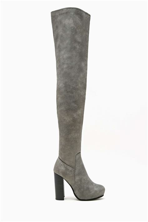 grey suede thigh high boots yu boots