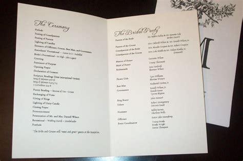 wedding program templates sle wedding programs