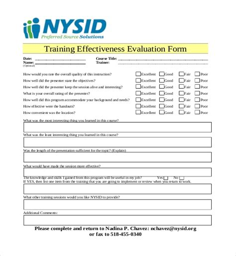 effectiveness evaluation form template 19 sle evaluation forms sle forms