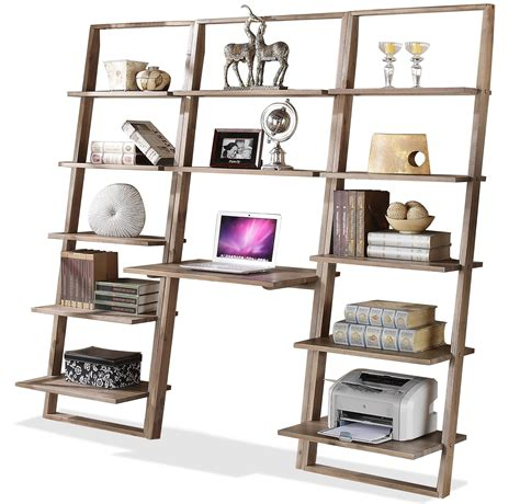 lean living leaning bookcase with 5 shelves by riverside