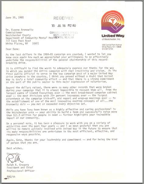 United Way Community Service Letter Volunteer Activities