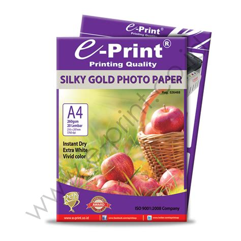 Kertas Paper A4 260 Gsm silky gold photo paper a4 260gsm e print