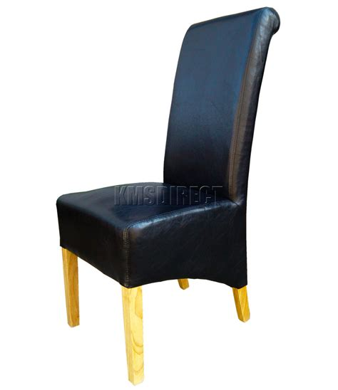 black faux leather dining chairs roll top scroll high back